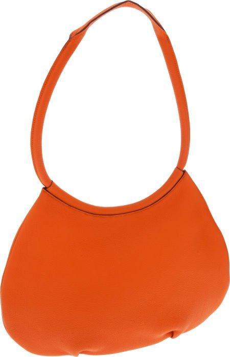 56002: Hermes Orange H Togo Leather Cacahuete Shoulder