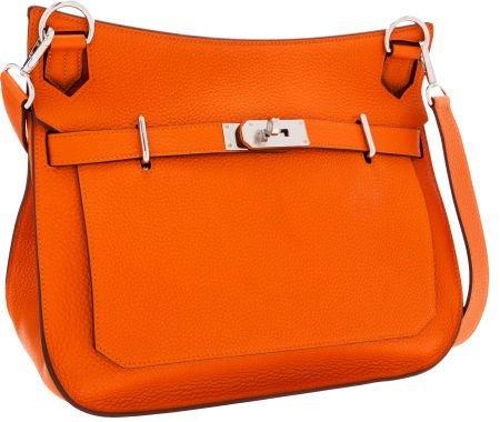 56003: Hermes 34cm Orange H Clemence Leather Jypsiere M