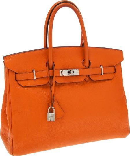 56004: Hermes 35cm Orange H Clemence Leather Birkin Bag