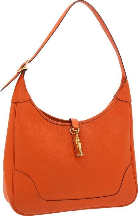 56005: Hermes 31cm Orange H Togo Leather Trim Bag with