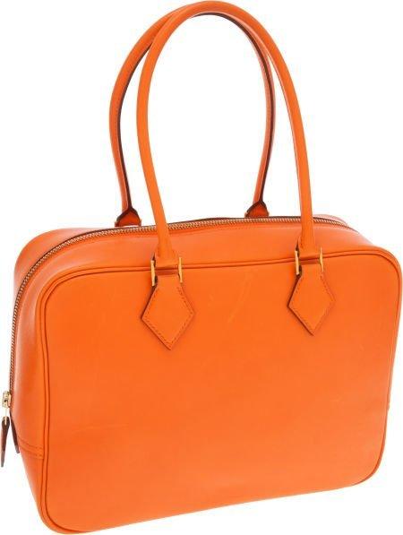 56008: Hermes 28cm Potiron Calf Box Leather Plume Bag w