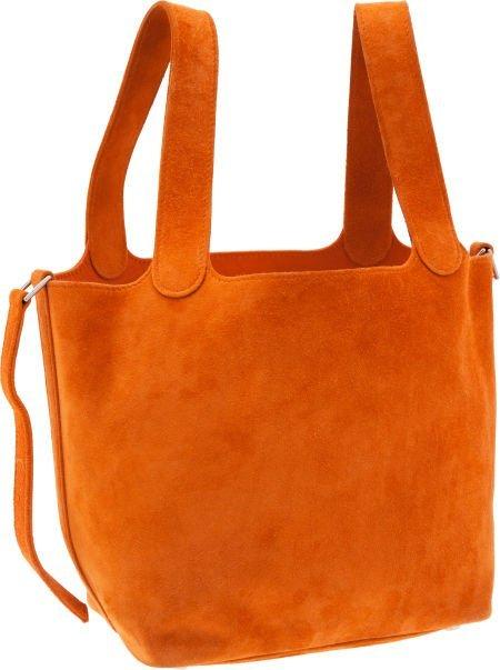 56009: Hermes Orange H Veau Doblis Picotin PM Tote Bag