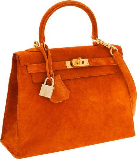 56010: Hermes 25cm Orange H Veau Doblis Sellier Kelly B