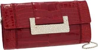 56300 Judith Leiber Shiny Cherry Red Alligator Clutch