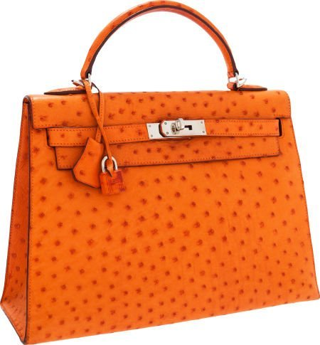 56012: Hermes 32cm Tangerine Ostrich Sellier Kelly Bag