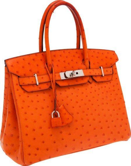56013: Hermes 30cm Tangerine Ostrich Birkin Bag with Pa