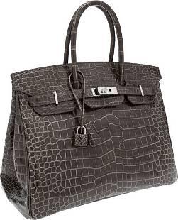 56112: Hermes 35cm Shiny Gris Elephant Porosus Crocodil