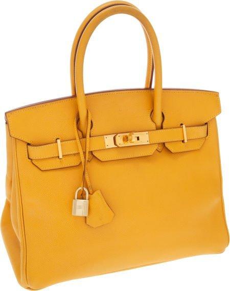 56014: Hermes 30cm Jaune Epsom Leather Birkin Bag with