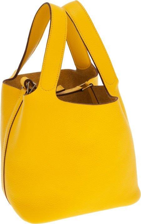 56015: Hermes Jaune Togo Leather Picotin PM  Tote Bag