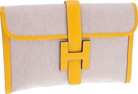 56016: Hermes Jaune Epsom Leather & Toile Jige MM H Clu