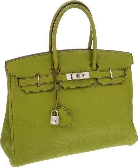 56018: Hermes 35cm Vert Anis Togo Leather Birkin Bag wi