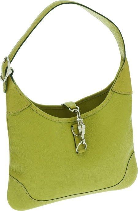 56019: Hermes Vert Anis Chevre Leather Mini Trim Bag wi