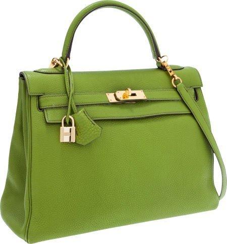 56020: Hermes 32cm Vert Anis Togo Leather Retourne Kell