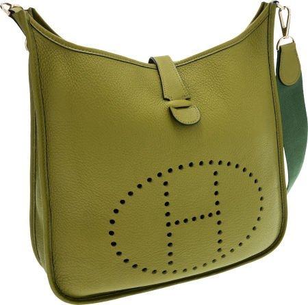 56021: Hermes Vert Chartreuse Clemence Leather Evelyne