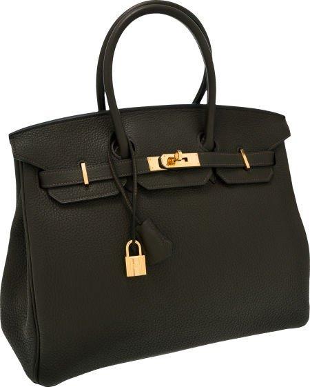 56023: Hermes 35cm Vert Veronese Clemence Leather Birki