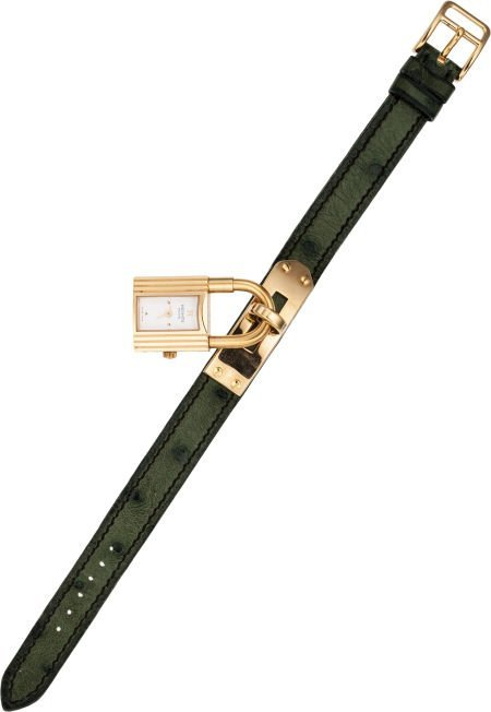 56024: Hermes Gold Kelly Watch with Vert Feuillage Ostr