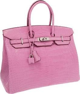 56141: Hermes Extremely Rare 35cm Matte Pink 5P Alligat