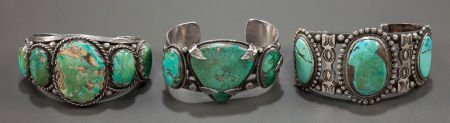 54005: THREE NAVAJO SILVER AND TURQUOISE BRACELETS c. 1