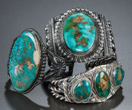 54006: THREE NAVAJO SILVER AND TURQUOISE BRACELETS c. 1