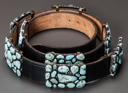54013: A NAVAJO SILVER AND TURQUOISE CONCHO BELT Fred G