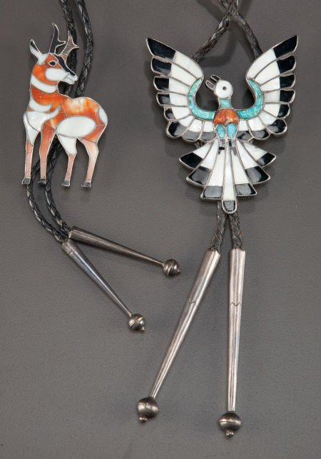 54015: TWO ZUNI SILVER, STONE, AND SHELL BOLO TIES c.