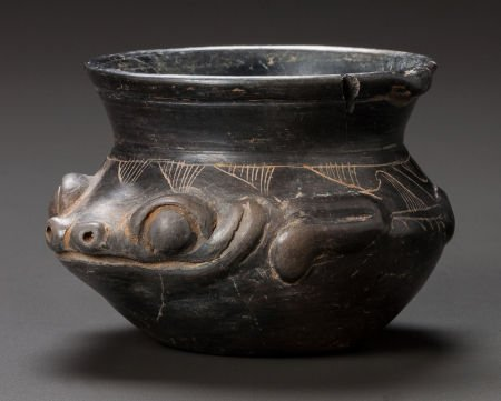 54268: A MAYA BLACKWARE VESSEL IN THE FORM OF A FROG c.