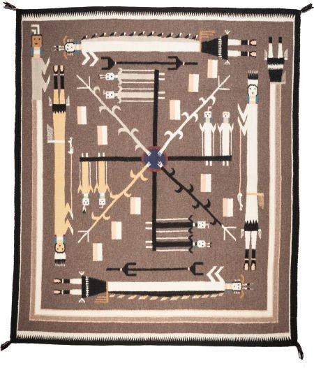 54024: A NAVAJO SANDPAINTING WEAVING c. 1960