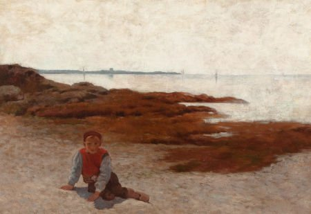 64007: ARTHUR HOEBER (American, 1854-1915) The Beach at