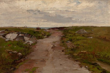 64010: FRENCH SCHOOL (19th Century) Path to the Sea Oil