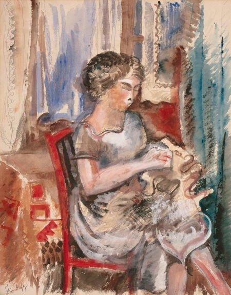 72010: JEAN DUFY (French, 1888-1964) Femme à la couture