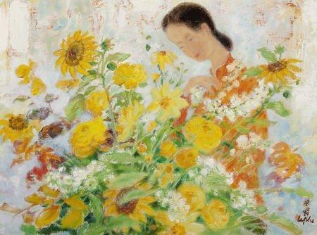 72011: LE PHO (French, 1907-2001) La jeune fille aux fl
