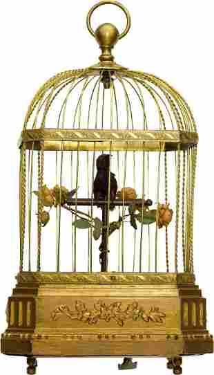 Mechanical Three Motion Singing Bird In Cage, ci