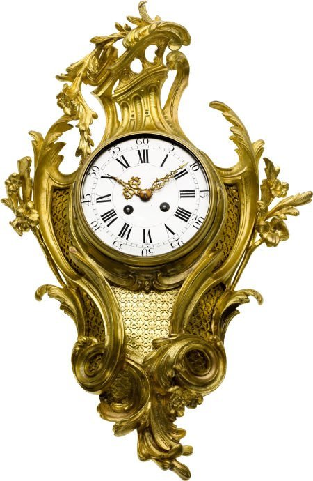 58005: French Ornate Gilt Wall Cartel Clock Eight Day T
