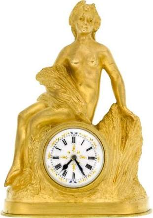 French L. Brunswick Small Gilt Clock With Fancy