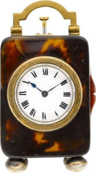 Miniature Shell & Gilt Quarter Hour Repeating Cl