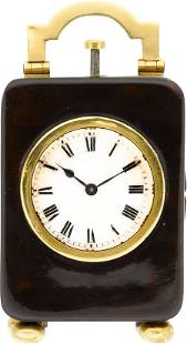 Miniature Shell & Gold Minute Repeating Clock, c