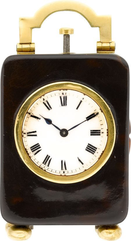 58012: Miniature Shell & Gold Minute Repeating Clock, c