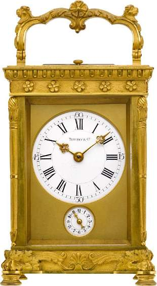 Tiffany & Co. Ornate French Carriage Clock With