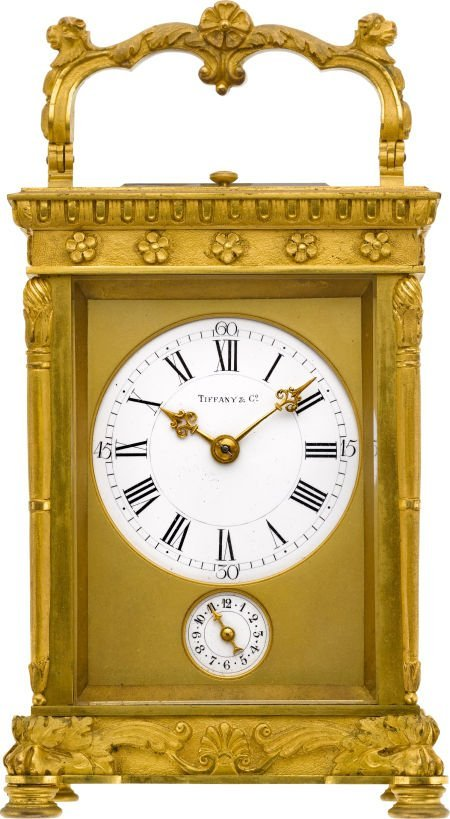 58014: Tiffany & Co. Ornate French Carriage Clock With