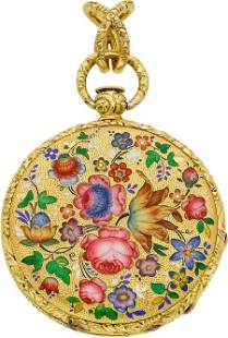 Moilliet Geneva Enamel & Gold Pendant Watch, cir