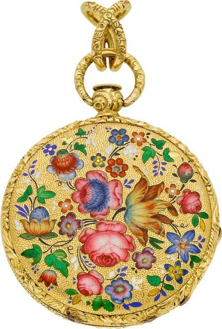 58018: Moilliet Geneva Enamel & Gold Pendant Watch, cir