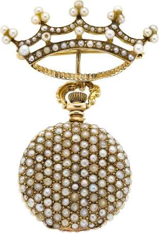 Longines Gold & Pearl Miniature With Pin, circa