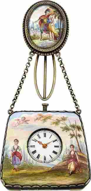 Swiss Viennese Enameled Purse Form Watch, circa