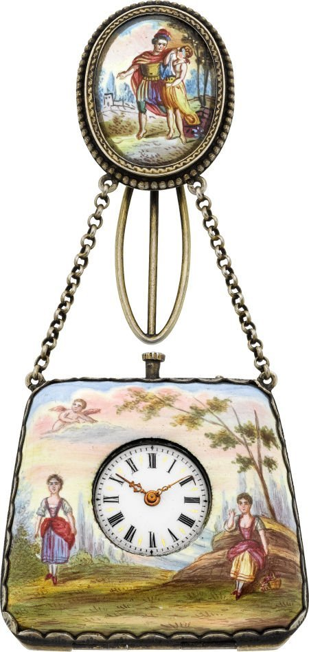 58022: Swiss Viennese Enameled Purse Form Watch, circa
