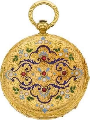 Perret & Cie Chaux-De-Fonds Fine Gold, Enamel, P