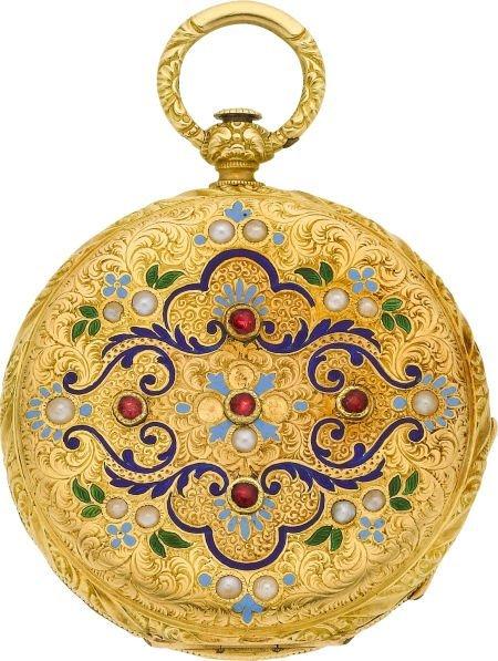 58023: Perret & Cie Chaux-De-Fonds Fine Gold, Enamel, P