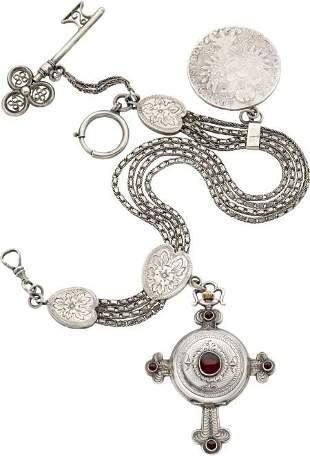 Swiss Unusual Silver & Garnet Cross Form Watch W