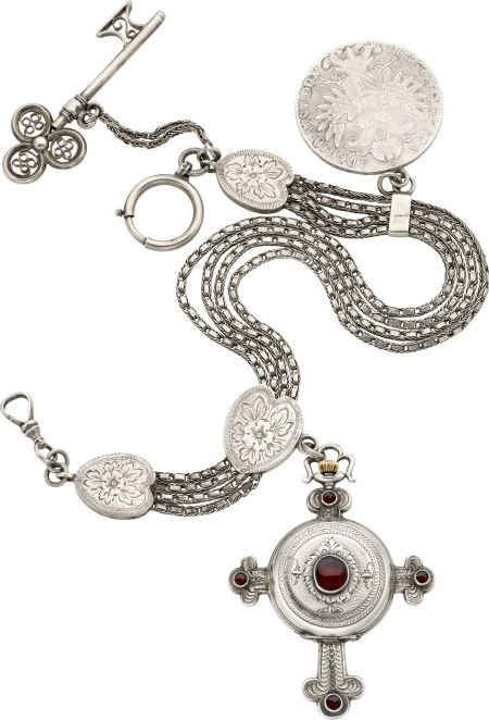 58024: Swiss Unusual Silver & Garnet Cross Form Watch W