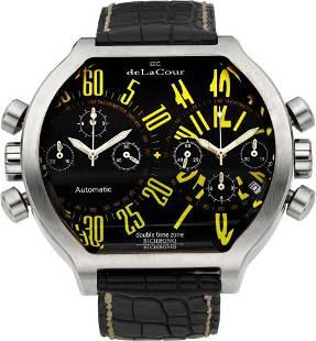 deLaCour Double Time Zone Bichrono Steel Wristwa