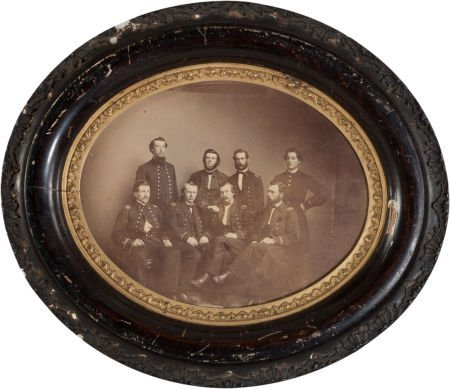 32002: Framed Civil War Albumen Portrait of 8 US Navy O